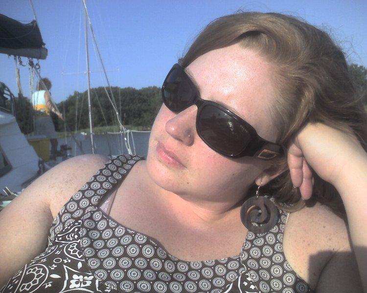Jill on a boat